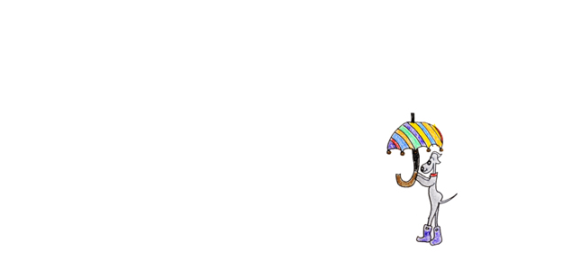 「よっちゃん」が描く6月のイタグレイラストは「雨の日の散歩」でした