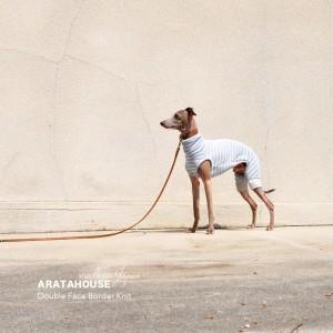 犬服|日本製ダブルフェイスボーダーニット(二重織りニット)|選べる4タイプ×3カラー(スカイブルー/イエロー/ライトグレイ)