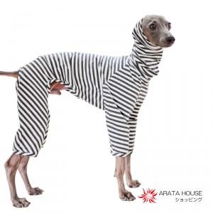 イタグレ・ウィペット犬服|ロンパース|杢天竺ボーダーニット|選べる3カラー(ベージュ/ネイビー/グレイ)