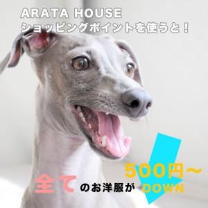 全てのお洋服が「500円DOWN」で買える|ユーザー評価(レビュー)でARATA HOUSEショッピングポイントを貯めよう!