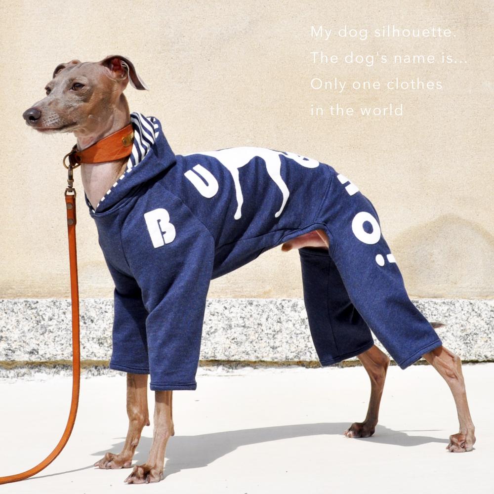 41日かかって遂に完成「犬服」My dog silhouette. The dog's name is...「世界に1つだけの洋服」|ロンパース(ボーダー裏地付き)×選べる3カラー